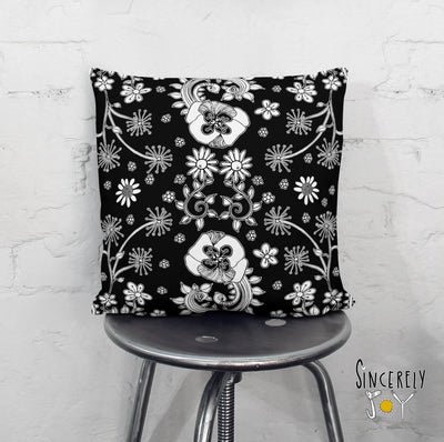 Black White floral throw pillow