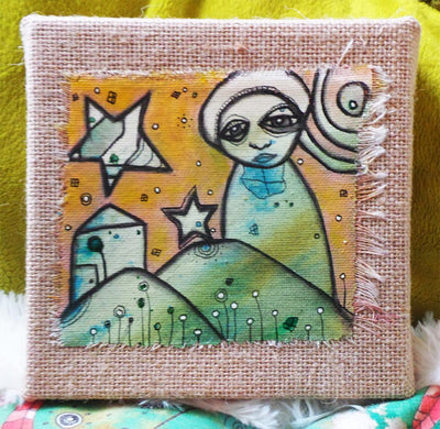 original art on burlap