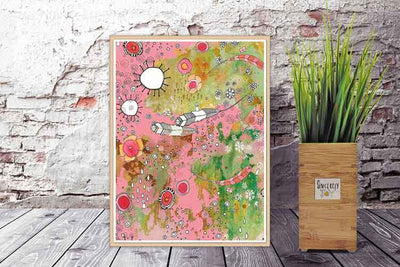 FEATHERS FLOWERS SHOWERS PINK BOHO ART PRINT DOWNLOAD