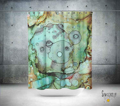 Abstract Mixed Media Shower Curtain '4 Doors Away'