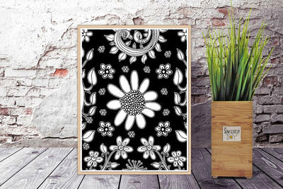 Art Printable Download 'BW Birds of a Flower 03'