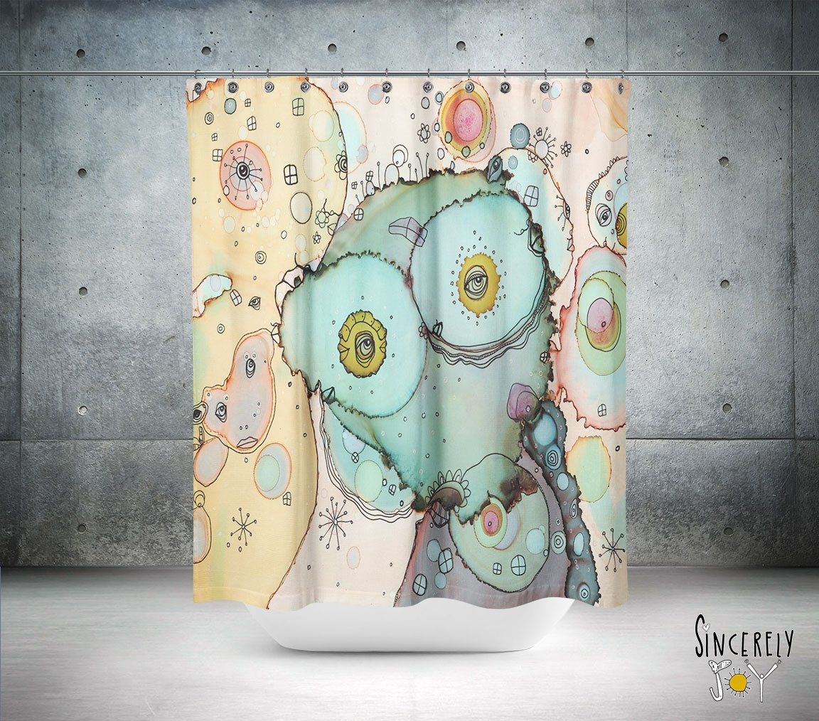Abstract mixed media shower curtain I See You