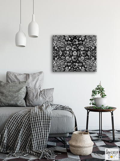 Art Print on Canvas 'Black and White Birds of a Flower'