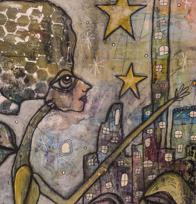 Abstract Mixed Media Shower Curtain 'City Creatures'