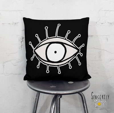 'EYE SEE YOU 01' in black REVERSIBLE Suede Pillow (2 PILLOWS IN ONE!)