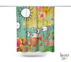 Colorful Abstract Bohemian Shower Curtain 'Feathers, Flowers, Showers'