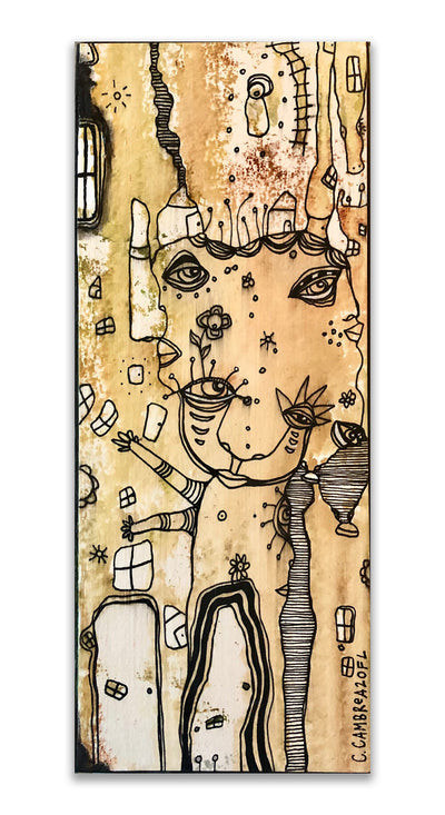 Original Mixed Media Fine Art on Wood 'Forever Connected'