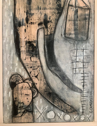 Original Mixed Media Fine Art on Wood 'He flew away'