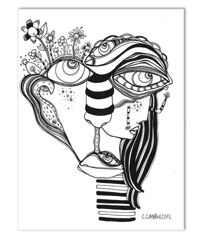Original Black & White Ink Drawing on Watercolor Paper 'Her Close up'