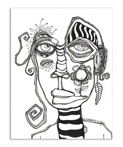 Original Black & White Ink Drawing on Watercolor Paper 'His Close up'