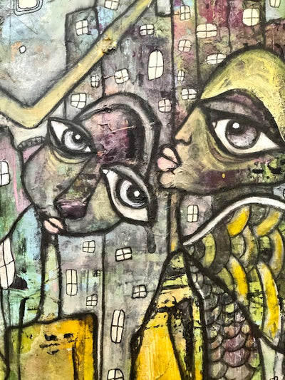 "Original Abstract Fine Art ""Creatures in the city"""
