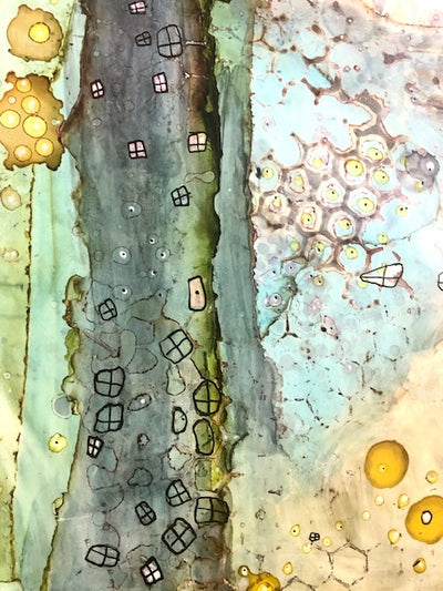 "Original Abstract Fine Art ""Underwater City"""