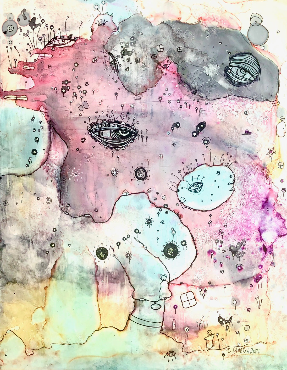 "Original Abstract Fine Art ""Pink Creature Friend"""
