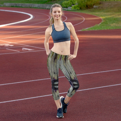 Abstract Capri leggings, Workout Pants 'Drippy Town'