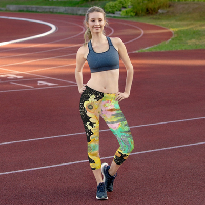 Abstract Capri leggings, Workout Pants 'Over the rainbow 02'