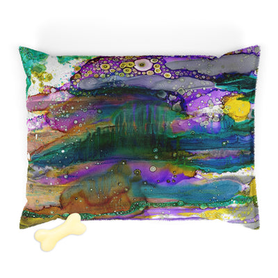 Fleece top WASHABLE Pet Bed for your dog or cat with colorful 'Purple Mountain' Artwork