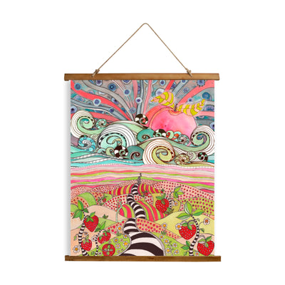 "Whimsical Wood Slat Tapestry ""Pink Sun Rising"""