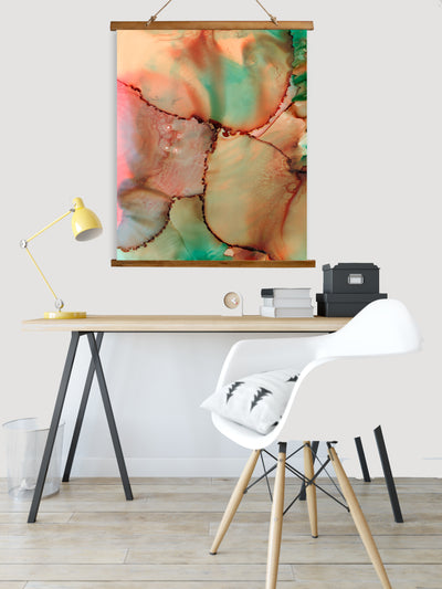 "Whimsical Wood Slat Tapestry ""Abstract Kiss"""