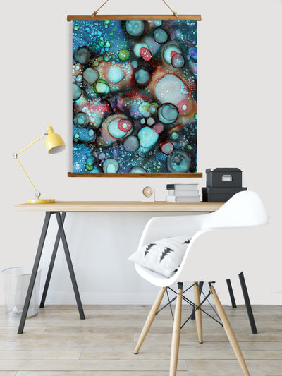 "Whimsical Wood Slat Tapestry ""Galaxy A"""