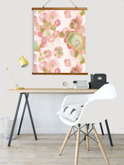 "Whimsical Wood Slat Tapestry ""Organic in Pink"""