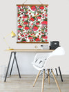 "Whimsical Wood Slat Tapestry ""Strawberry Friends White"""
