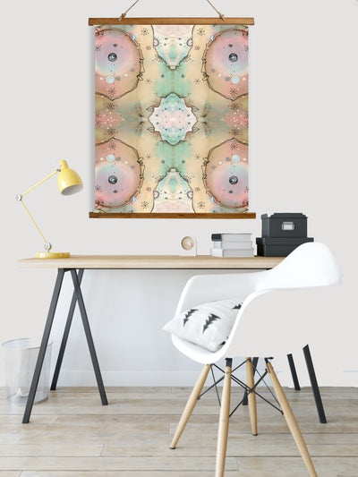 "Whimsical Wood Slat Tapestry ""Turn Around"""