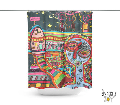 Abstract Mixed Media Shower Curtain 'Rose St'