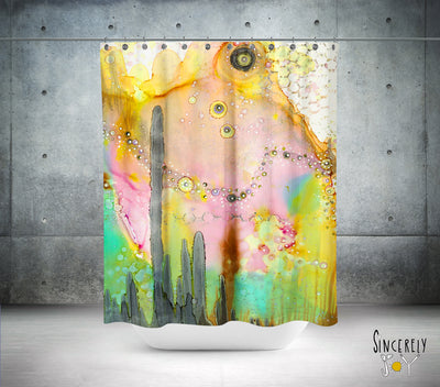 Colorful Abstract Shower Curtain 'Over the Rainbow II'