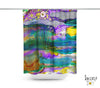 Colorful Abstract Shower Curtain 'Purple Mountain'