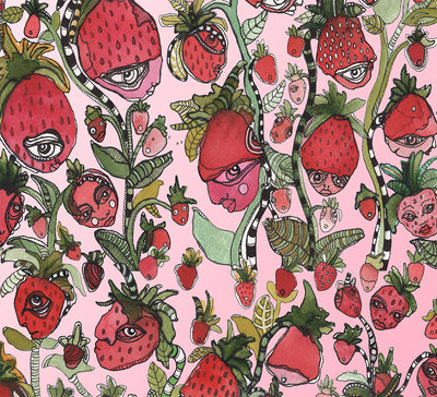 Wall Art Tapestry 'Strawberry Friends in pink'
