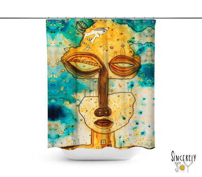 Abstract Mixed Media Shower Curtain 'Separation Anxiety'