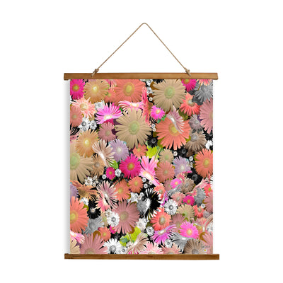 "Whimsical Wood Slat Tapestry ""C Floral"""