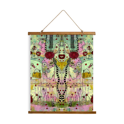 "Whimsical Wood Slat Tapestry ""Cut it out"""