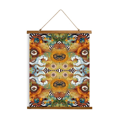 "Whimsical Wood Slat Tapestry ""Energy Abstract Pattern"""