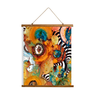 "Whimsical Wood Slat Tapestry ""Energy Abstract"""