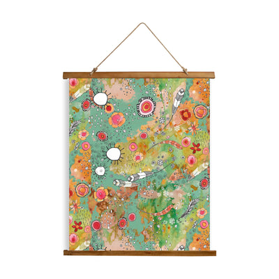 "Whimsical Wood Slat Tapestry ""Feathers Flowers Showers"""