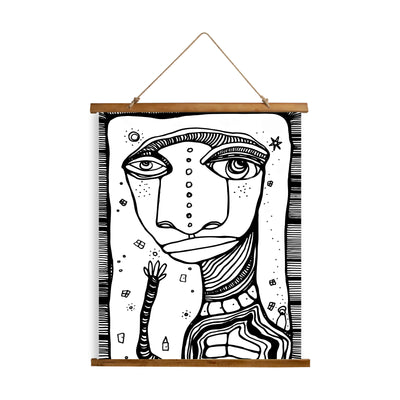 "Whimsical Wood Slat Tapestry ""Hey Friends"""