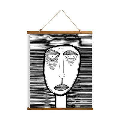 "Whimsical Wood Slat Tapestry ""Oh Man"""