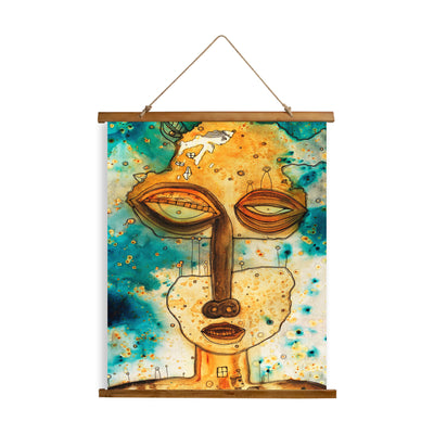 "Whimsical Wood Slat Tapestry ""Separation Anxiety"""