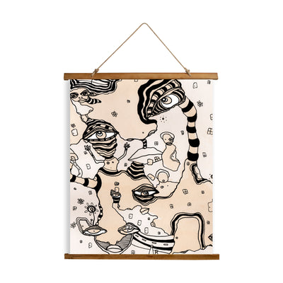 "Whimsical Wood Slat Tapestry ""Stained 01"""
