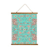 "Whimsical Wood Slat Tapestry ""Teal Birds of a Flower"""