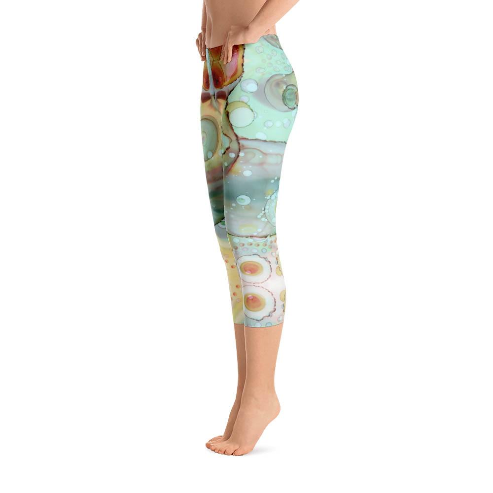 1322cd5014a16 Abstract Capri leggings, Workout Pants 'Mermaid Tail 01' - Sincerely Joy