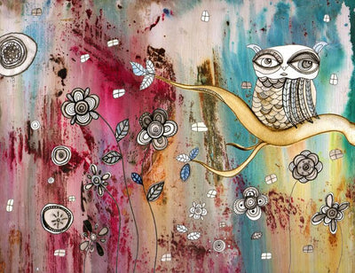 original art surreal owl