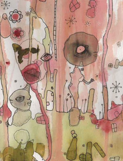mixed media on paper 'play nice'