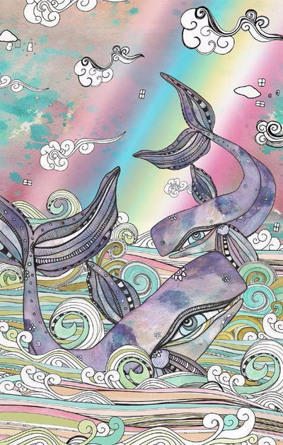 whale art print strawberry beach book