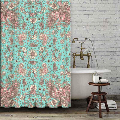 hand-drawn-floral-teal-pink-shower-curtains