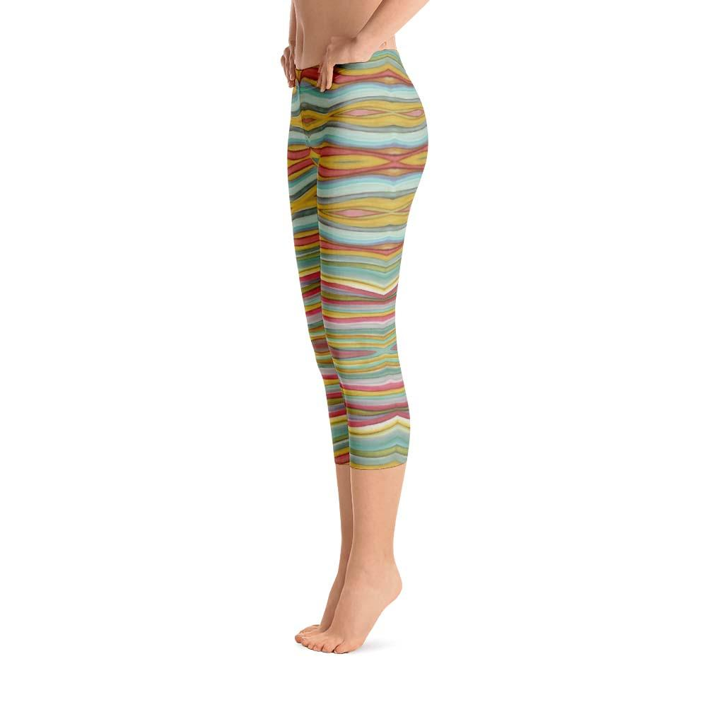13ca1334ec2 Abstract Capri leggings, Workout Pants 'Striped Horizontal'
