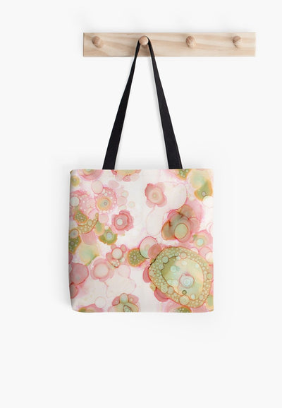 organic abstract pink tote bag