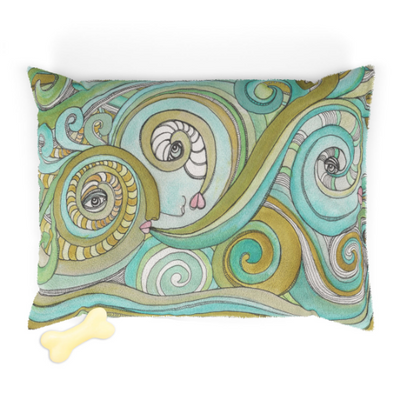 Fleece Pet Bed for your dog or cat with colorful 'Honeydew Ocean' Artwork - WASHABLE