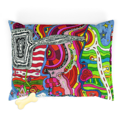 Washable Fleece Pet Bed for your dog or cat with colorful 'Multi' Artwork